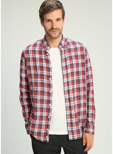 Beymen Collection Kareli Uzun Kollu Keten Gömlek Kırmızı